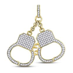 1 & 1/4 CTW Mens Round Diamond Handcuff Charm Pendant 10kt Yellow Gold - REF-54T3K