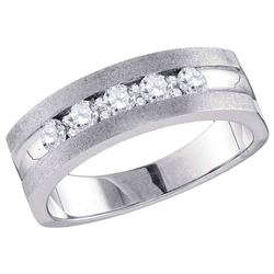 1/2 CTW Mens Round Diamond Single Row 5-Stone Wedding Ring 10kt White Gold - REF-63M5A