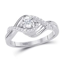 1/5 CTW Round Diamond Solitaire Bridal Wedding Engagement Ring 10kt White Gold - REF-20Y3X