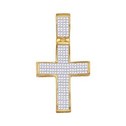 1 & 1/2 CTW Mens Princess Diamond Cross Charm Pendant 10kt Yellow Gold - REF-47A9N