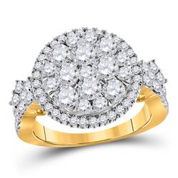 2 CTW Round Diamond Right Hand Cluster Ring 14kt Yellow Gold - REF-159A5N