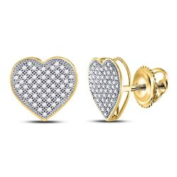 1/3 CTW Round Diamond Heart Cluster Screwback Earrings 10kt Yellow Gold - REF-19W2F