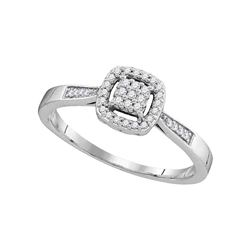 1/8 CTW Round Diamond Square Cluster Ring 10kt White Gold - REF-15X5T