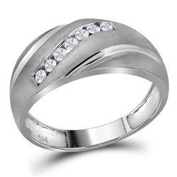 1/4 CTW Mens Round Diamond Ring 10kt White Gold - REF-19W2F
