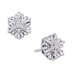 1/10 CTW Round Baguette Diamond Cluster Stud Earrings 14kt White Gold - REF-14Y4X