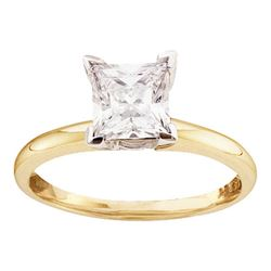 1 CTW Princess Diamond Solitaire Bridal Wedding Engagement Ring 14kt Yellow Gold - REF-215K9R