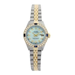 Rolex Pre-owned 26mm Womens Custom Ice Blue Two Tone - REF-530M3R