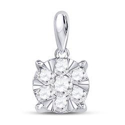 1/2 CTW Round Diamond Flower Cluster Pendant 14kt White Gold - REF-35H9W