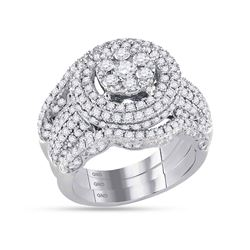 2 & 1/2 CTW Round Diamond Cluster Bridal Wedding Engagement Ring 14kt White Gold - REF-203X9T
