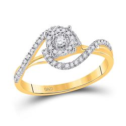 1/5 CTW Round Diamond Solitaire Swirl Bridal Wedding Engagement Ring 10kt Yellow Gold - REF-19A2N