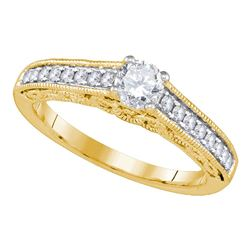 5/8 CTW Round Diamond Solitaire Bridal Wedding Engagement Ring 14kt Yellow Gold - REF-107H9W