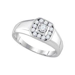 1/2 CTW Mens Round Diamond Cluster Ring 14kt White Gold - REF-57K5R