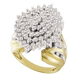 2 CTW Round Prong-set Diamond Large Oval Cluster Ring 10kt Yellow Gold - REF-83K9R