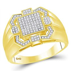 1/3 CTW Mens Round Diamond Square Cluster Ring 10kt Yellow Gold - REF-47X9T