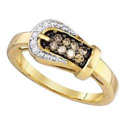 1/4 CTW Round Brown Diamond Belt Buckle Ring 10kt Yellow Gold - REF-18R3H