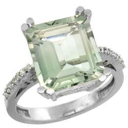 5.52 CTW Amethyst & Diamond Ring 14K White Gold - REF-54V4R