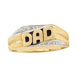 0.01 CTW Mens Round Diamond Dad Father Ring 14kt Yellow Gold - REF-19R2H