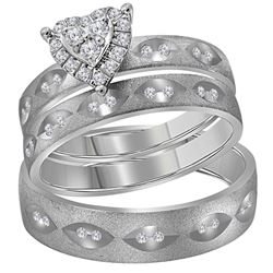 1/4 CTW His & Hers Round Diamond Heart Matching Bridal Wedding Ring 14kt White Gold - REF-60R3H