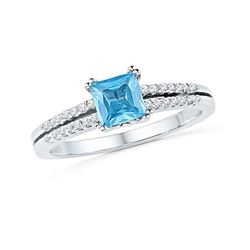 5/8 CTW Princess Lab-Created Blue Topaz Solitaire Ring 10kt White Gold - REF-18X3T
