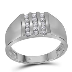1/4 CTW Mens Round Channel-set Diamond Triple Row Wedding Ring 10kt White Gold - REF-24W3F