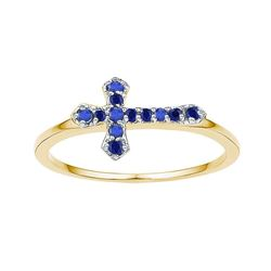 1/8 CTW Round Lab-Created Blue Sapphire Cross Religious Ring 10kt Yellow Gold - REF-8M4A