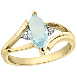 0.94 CTW Aquamarine & Diamond Ring 14K Yellow Gold - REF-35M6A