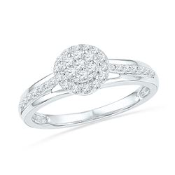 1/3 CTW Round Diamond Flower Cluster Ring 10kt White Gold - REF-26H3W