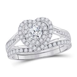 1 CTW Round Diamond Heart Bridal Wedding Engagement Ring 14kt White Gold - REF-101A9N