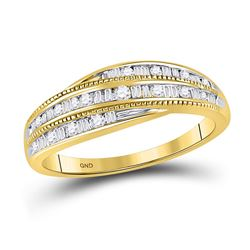 1/3 CTW Round Baguette Diamond Ring 10kt Yellow Gold - REF-27H5W