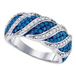 3/4 CTW Round Blue Color Enhanced Diamond Cascading Ring 10kt White Gold - REF-47K9R