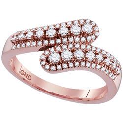 1/2 CTW Round Diamond Bypass Ring 10kt Rose Gold - REF-35R9H
