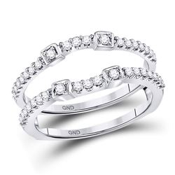 1/3 CTW Round Diamond Wrap Ring 14kt White Gold - REF-33M6A