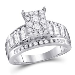 1/2 CTW Round Diamond Cluster Bridal Wedding Engagement Ring 10kt White Gold - REF-35M9A