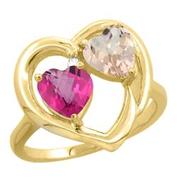 1.91 CTW Diamond, Pink Topaz & Morganite Ring 10K Yellow Gold - REF-26V5R