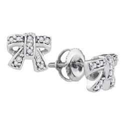 1/10 CTW Round Diamond Ribbon Bow Earrings 10kt White Gold - REF-10A8N