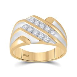 1/2 CTW Mens Round Diamond Double Row Ring 10kt Yellow Gold - REF-35A9N