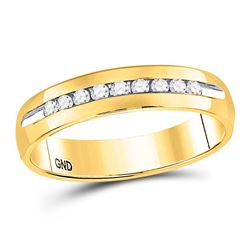 1/4 CTW Mens Round Diamond Single-row Channel-set Wedding Ring 14kt Yellow Gold - REF-41F9M