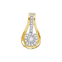 1/8 CTW Round Diamond Flower Cluster Teardrop Pendant 10kt Yellow Gold - REF-9M6A
