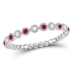1/6 CTW Round Ruby Diamond Beaded Dot Stackable Ring 10kt White Gold - REF-13T2K