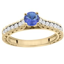 0.89 CTW Tanzanite & Diamond Ring 14K Yellow Gold - REF-64X8M