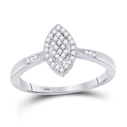 1/8 CTW Round Diamond Oval Cluster Ring 10kt White Gold - REF-13F2M