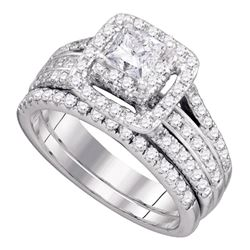 1 & 1/2 CTW Princess Diamond Bridal Wedding Engagement Ring 14kt White Gold - REF-167W9F