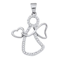 1/8 CTW Round Diamond Guardian Angel Heart Pendant 10kt White Gold - REF-8X4T