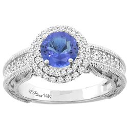 1.29 CTW Tanzanite & Diamond Ring 14K White Gold - REF-92W5F