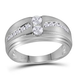 5/8 CTW Mens Round Diamond Wedding Ring 10kt White Gold - REF-65W9F