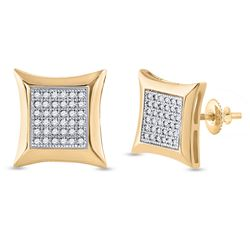 1/5 CTW Round Diamond Square Kite Cluster Earrings 10kt Yellow Gold - REF-20W9F