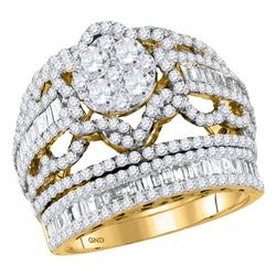 2 & 1/2 CTW Round Diamond Bridal Wedding Engagement Ring 14kt Yellow Gold - REF-183A5N