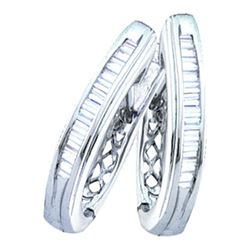1/4 CTW Baguette Channel-set Diamond Hoop Earrings 10kt White Gold - REF-16A8N