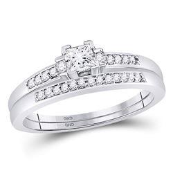 1/3 CTW Princess Diamond Bridal Wedding Engagement Ring 10kt White Gold - REF-41F9M