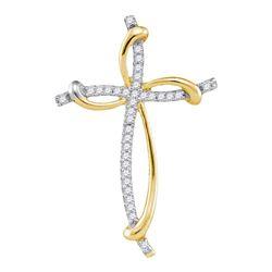 1/10 CTW Round Diamond Curved Cross Pendant 10kt Yellow Gold - REF-7W5F